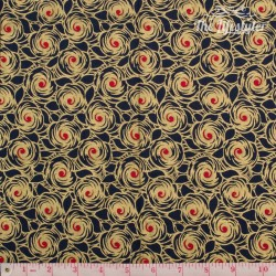 Timeless Treasures - Revive, Glamour - golden and red flowers on navy