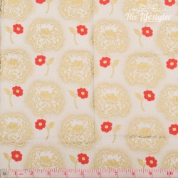 Timeless Treasures - Revive, Hollywood - golden and red flowers on cream