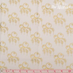 Timeless Treasures - Revive, Art Deco - golden flowers on cream
