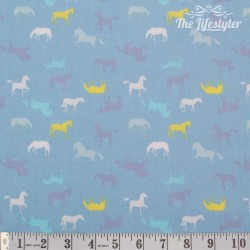 Westfalenstoffe - Young line horses on light blue