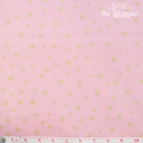 Westfalenstoffe - Noel, golden stars on light pink