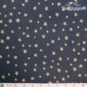 Westfalenstoffe - Noel, golden stars on anthracite