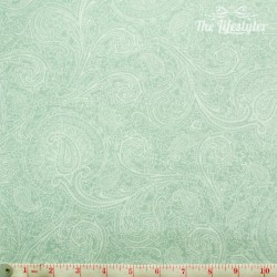 Westfalenstoffe - Cardiff, light green paisley on white