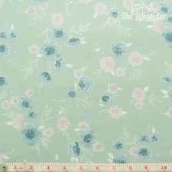 Westfalenstoffe - Cardiff, bouquets on solid light green