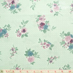 Westfalenstoffe - Cardiff, bouquets on light green/white zigzag