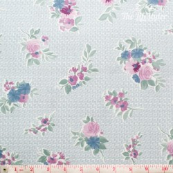 Westfalenstoffe - Cardiff, bouquets on light blue/white zigzag