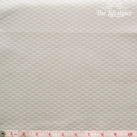 Westfalenstoffe - Kyoto, white clamshells on light beige