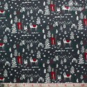 Westfalenstoffe - Noel, Xmas motif on anthracite
