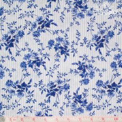 Westfalenstoffe - Delft blue flowers on light blue and white stripes