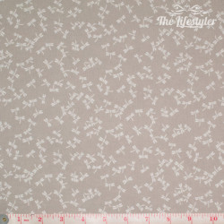 Westfalenstoffe - Kyoto, white dragonflies on light beige