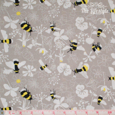 Westfalenstoffe - Kyoto, bees and white flowers on light beige