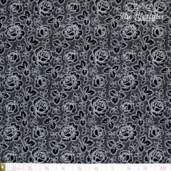 Westfalenstoffe - Black & White, white roses on black
