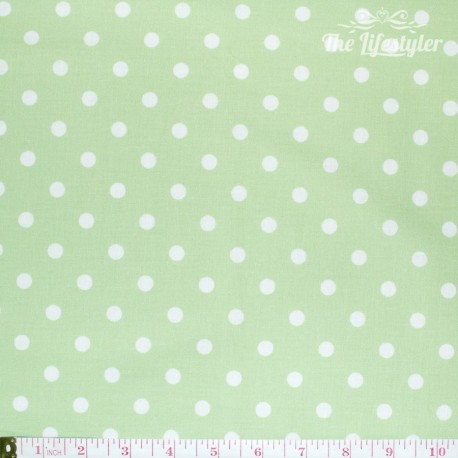 Westfalenstoffe - Capri, big white dots on light green