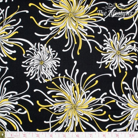 Robert Kaufman Night & Day, yellow/white flowers on black