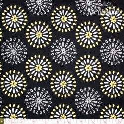 Robert Kaufman Night & Day, yellow/white abstract flowers on black