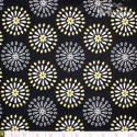 Robert Kaufman - Night & Day, yellow/white abstract flowers on black