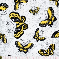 Robert Kaufman Night & Day, yellow/black butterflies on white