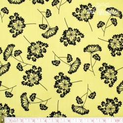 Robert Kaufman - Night & Day, black flowers on yellow
