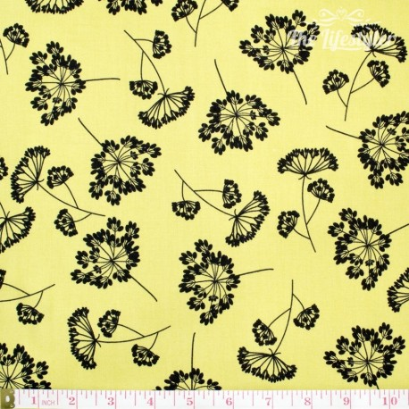 Robert Kaufman Night & Day, black flowers on yellow