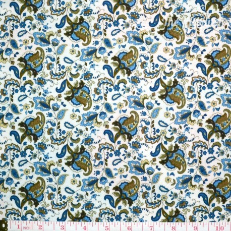 Timeless Treasures Majesty, blue/olive Paisley and Vines on cream