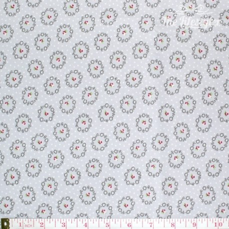 Westfalenstoffe - Princess rose wreaths on grey