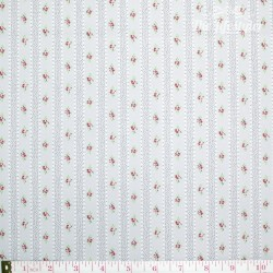 Westfalenstoffe - Princess tiny border stripes with roses on grey