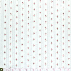 Westfalenstoffe - Princess tiny border stripes with roses on white