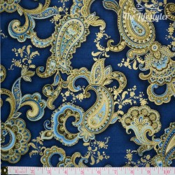 Timeless Treasures Majesty, Blue/Gold Paisley on Navy