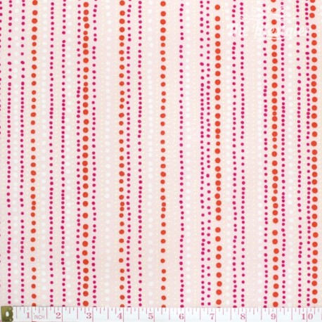 Westfalenstoffe - Berlin red dotty stripes on pink