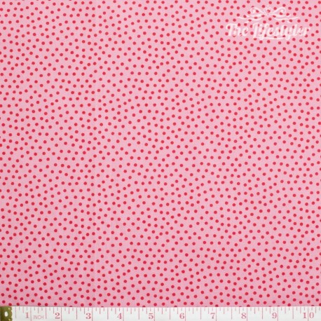 Westfalenstoffe - Young line small red dots on pink, organic