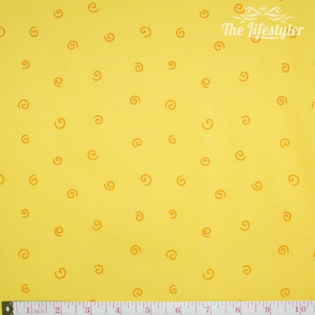 Westfalenstoffe - Young line orange spiral on yellow
