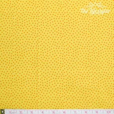 Westfalenstoffe - Young line small orange dots on yellow, organic
