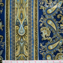 Timeless Treasures Majesty, blue/gold paisley and stripes on navy