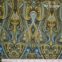 Timeless Treasures - Majesty, blue/gold paisley on blue