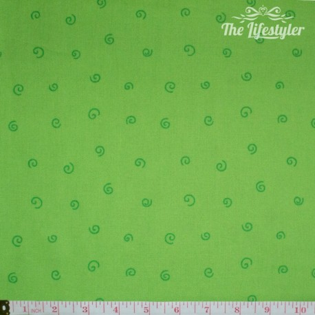 Westfalenstoffe - Young line green spirals on light green