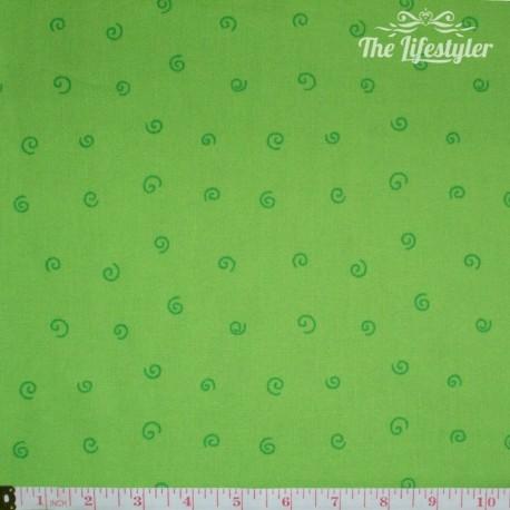 Westfalenstoffe - Young line green spirals on light green