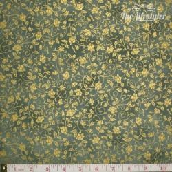 Hoffman Fabrics Asian Peony, gold vines on green