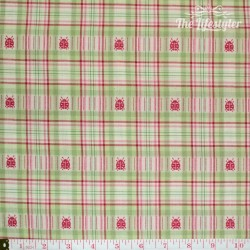 Westfalenstoffe - Wales woven medium checks pink/green with Ladybirds