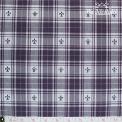 Westfalenstoffe - Torino woven check burgundy/white with lily