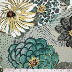 Hoffman Fabrics Bellissima, flowers jade/gold