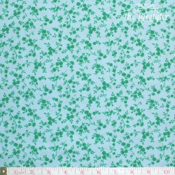 Westfalenstoffe - Marbella green flowers on light blue
