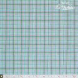 Westfalenstoffe - Marbella woven check green/pink on light blue