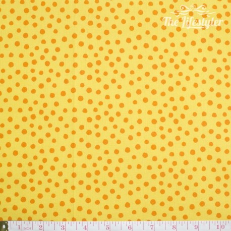 Westfalenstoffe - Young line orange dots on yellow, organic
