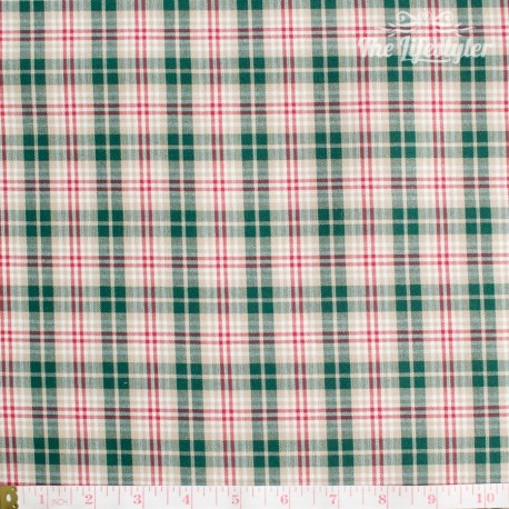 Westfalenstoffe - Trondheim woven red and green check on beige
