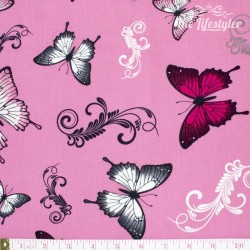 April's Garden by DV Studio, butterflies on pink