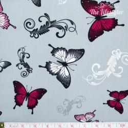 April's Garden by DV Studio, butterflies on grey
