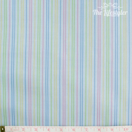 Westfalenstoffe - Amsterdam, woven multicolour stripes on light blue