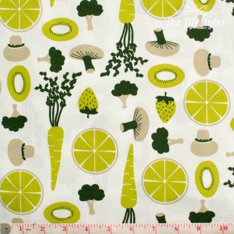 Westfalenstoffe - Kitchen, fruit and veggies, light green