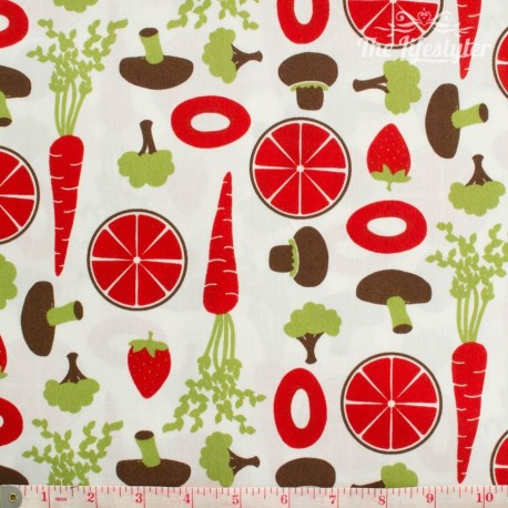 Westfalenstoffe - Kitchen, fruit and veggies, red