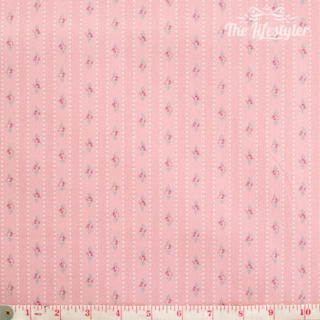 Westfalenstoffe - Princess tiny border stripes with roses on pink